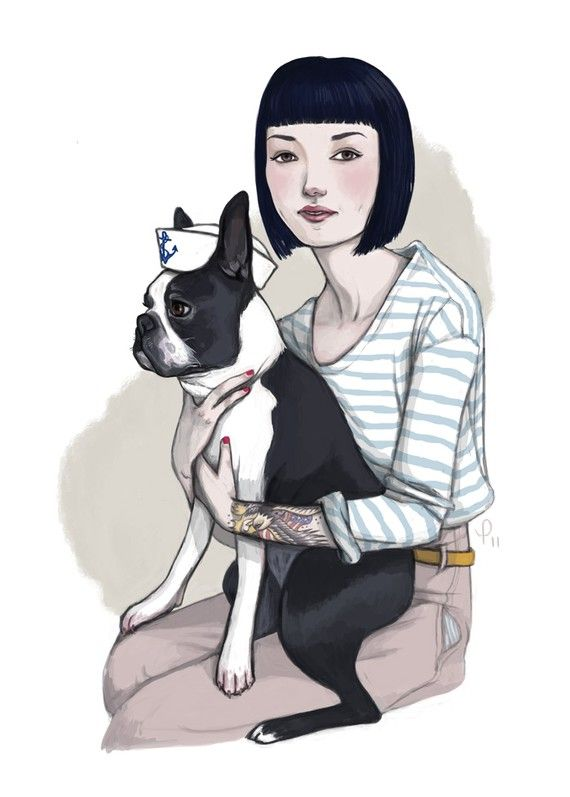Marvin // Boston Terrier Sailor Print by pauletrudelbellemare, I love this talented girl