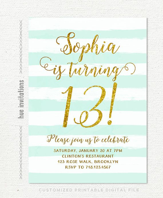 Best 25 Teen birthday invitations ideas – Thirteenth Birthday Invitations