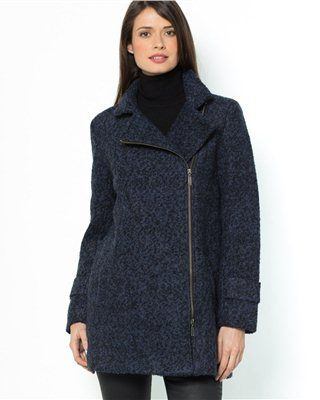 Wool Bouclé Coat with Asymmetric Zip Fastening