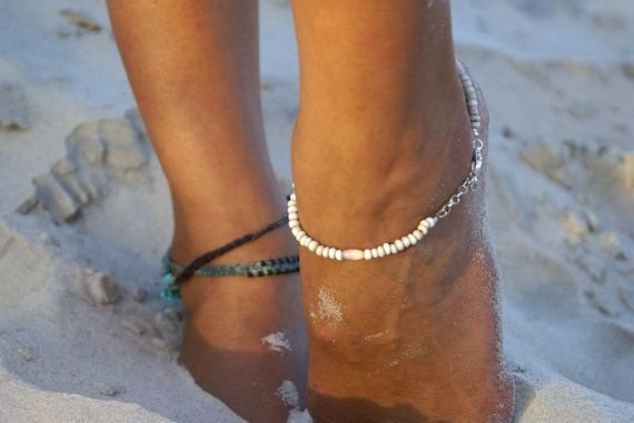 White sand anklet  white jewellery by LittleGypsyMiracles on Etsy, €17.26