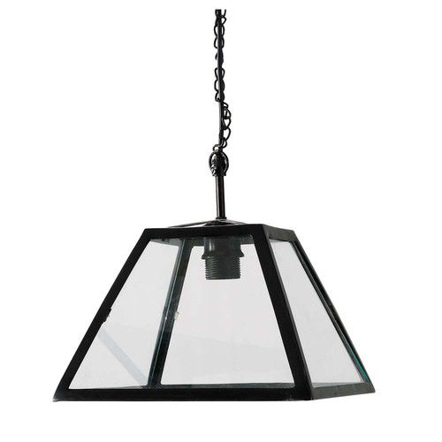 Zwarte metalen en glazen USINE hanglamp D 28 cm