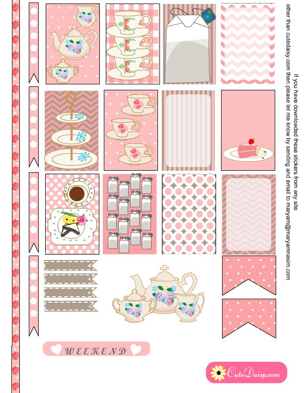 Free Tea Stickers in Pink Color
