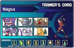 Maysa's pokemon trainer card