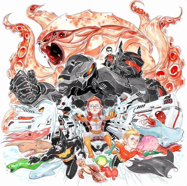 regram @duss005 cover of July issue of Lil Gotham back in 2013 #batman #LilGotham #batgirl #aquaman #kaiju