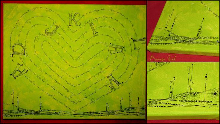 Zentangle on canvas, Dangles, Doodle