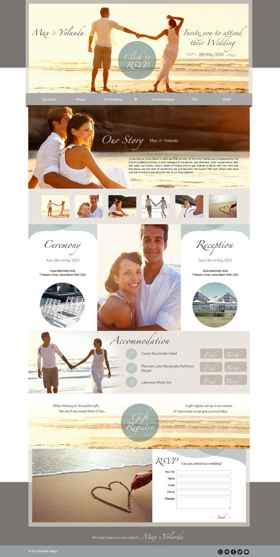 Online Wedding Invitation / Invite - Neutral / Beach Personalised template or custom design! Available from Etsy #web #design #invite #invitation #onlineinvite #webdesign #website #wedding Only $250