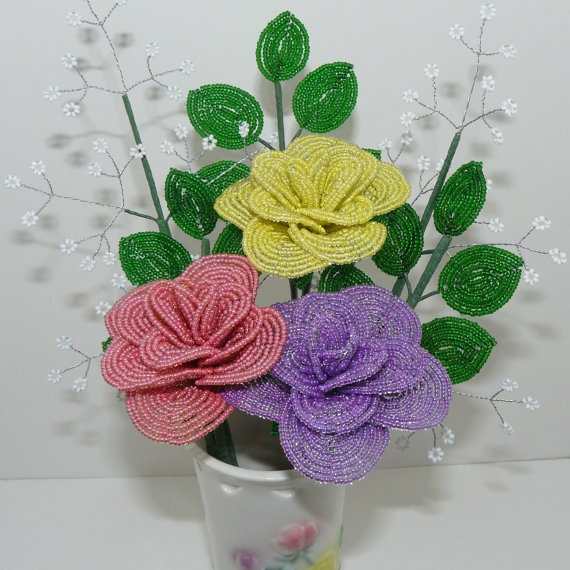 French Beaded Flowers Large Roses in Matching Vase by Craftymoose, $45.00