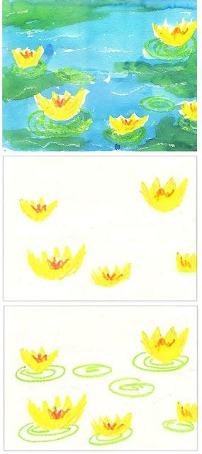 Art Projects for Kids: Monet's Water Lilies. Pretty and easy watercolor resist.