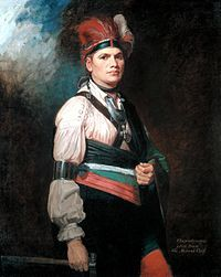Joseph Brant or Thayendanegea March 1743 - November, 1807 was a Mohawk military and political leader. (painting by George Romney 1776 (2).jpg)