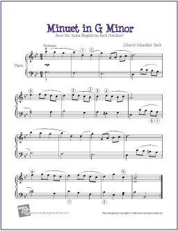 Minuet in G Minor (Bach) | Free Sheet Music for Piano - http://makingmusicfun.net/htm/f_printit_free_printable_sheet_music/minuet-in-g-minor-level-five-piano-solo.htm