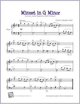 Minuet in G Minor (Bach) | Free Sheet Music for Piano - http://makingmusicfun.net/htm/f_printit_free_printable_sheet_music/minuet-in-g-minor-level-five-piano-solo.htm (Scheduled via TrafficWonker.com)