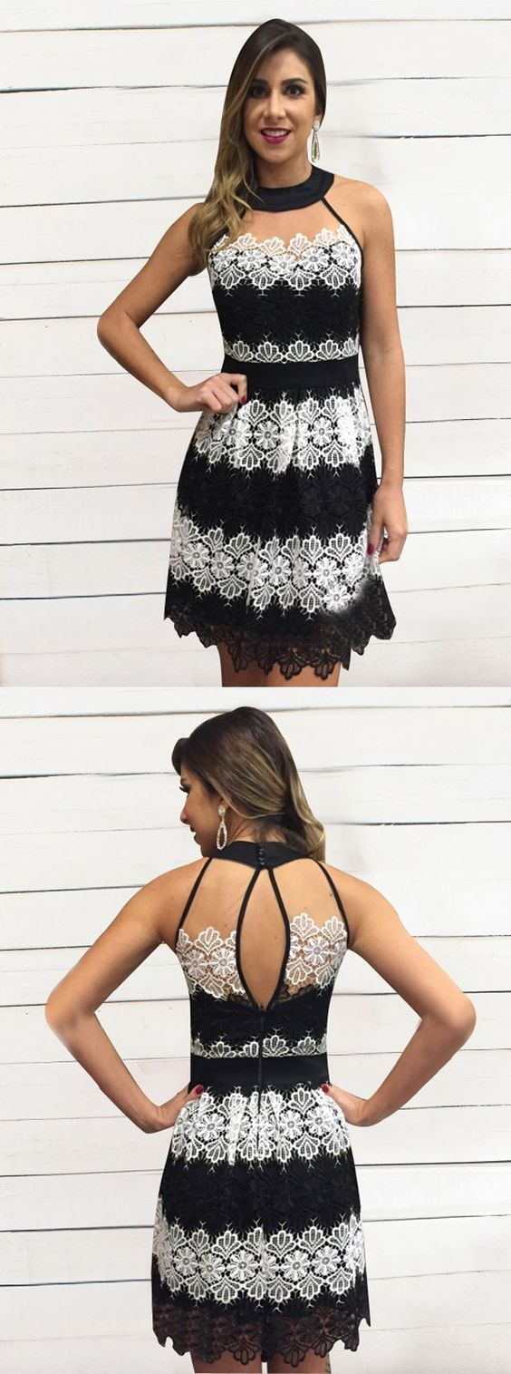 Open Back Black Homecoming Dress, Short Prom Dress with White Lace, Round Neck Party Dress