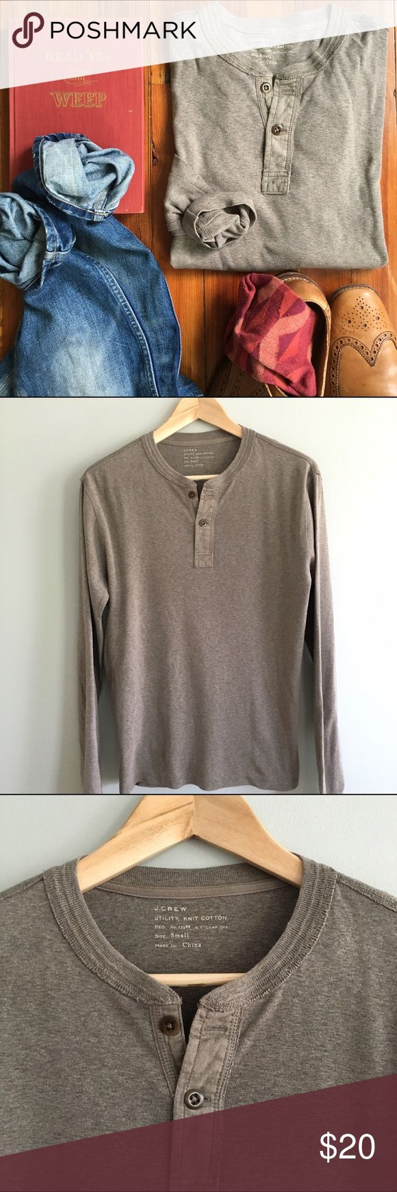 Men's JCREW Long Sleeve Henley in Warm Brown Cotton, Size Small, Good Condition J. Crew Tops