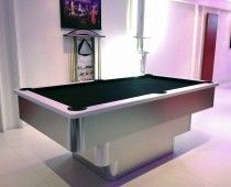 Bespoke 7ft tiered contemporary UK pool table in brushed aluminium with white sprayed finish cushion rail, black leather pockets and black cloth. Shop here: http://www.snookerandpooltablecompany.com/pool-tables/uk-pool-tables/contemporary-bespoke-uk-pool-tables/tiered-contemporary-uk-pool-table-white-cushion-rail-and-black-cloth.html