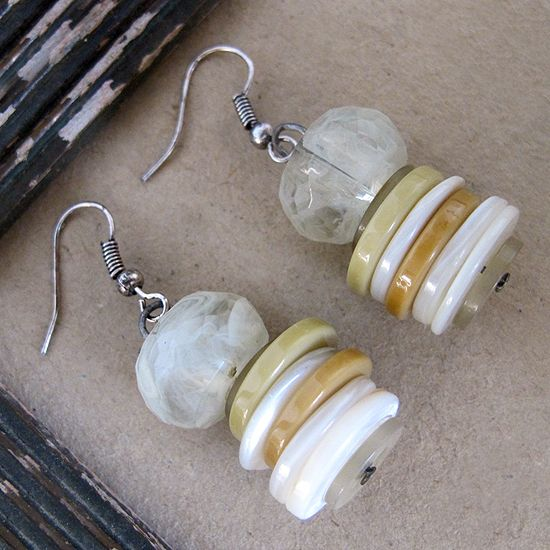 Stacked Button Earrings