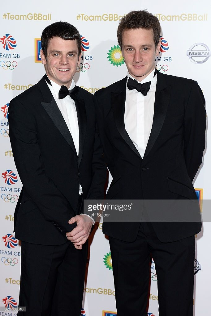 Triathletes Jonathan Brownlee (L) and Alistair Brownlee attend the Team GB Ball at Battersea Evolution on November 30, 2016 in London, England.