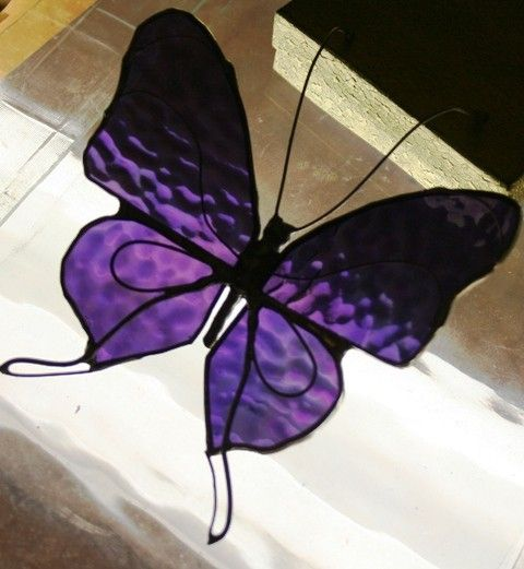 Purple Iridescent  Stained Glass Butterfly by Glassquirks on Etsy, $25.00