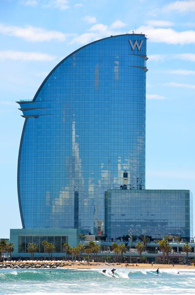 The W at Barceloneta Beach. The very top is a bar that looks over the whole city
