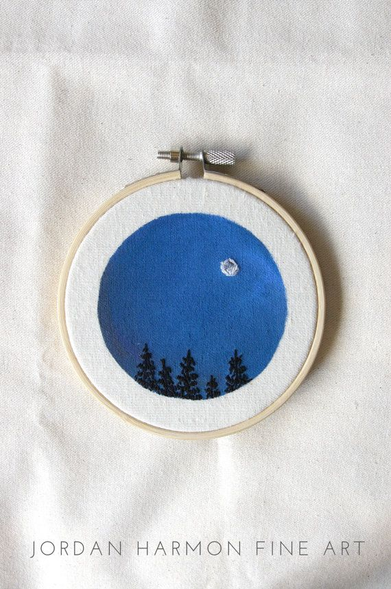 Full Moon in Navy Night Sky Mini Embroidery by JordanHarmonFineArt
