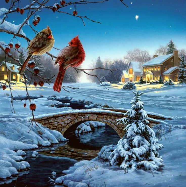 Darrell Bush, artist ~ winter in the country ~ cardinals on branch over stream ~ cobblestone bridge ~ houses aglow