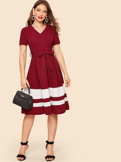 5dbf9a3f49b 80s Cut-and-sew Belted Flared Dress in 2019