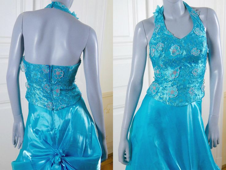 Turquoise Evening Gown, Italian Vintage Princess Diana-Style Elegant Sleeveless Formal Two-Piece Oscars Satin Dress: 4 (US), 8 (UK) by YouLookAmazing on Etsy