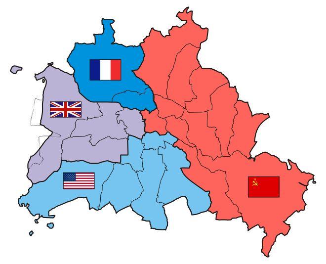 Die vier Sektoren Berlins nach Beschluss der Konferenz von Jalta