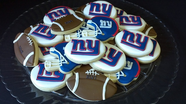 Ny giants super bowl cookies by Custom Cakes By Tracee, via Flickr