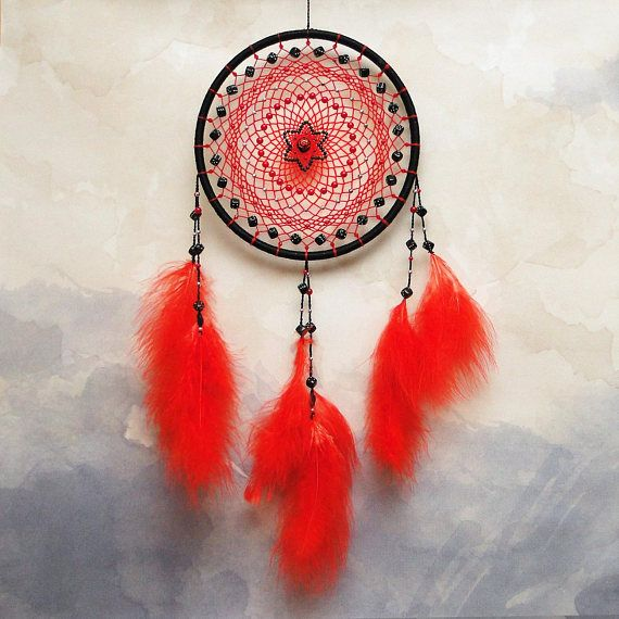 Lucky Star  ★ Diameter 8, Length 18 ★ One of a kind ★ Ready to ship  This red and black dream catcher is decorated with small dices. It will add a striking accent to your room decor, or it can be an original gift for a person, who likes to play casino games or DnD.  INFORMATION: The
