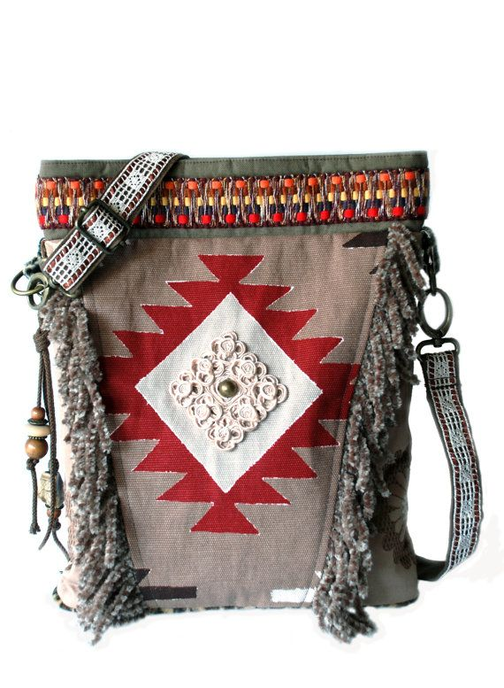 Aztec shoulder bag with fringes, native American style, brown taupe red - bohemian western style handmade OOAK bags, cross shoulder bag