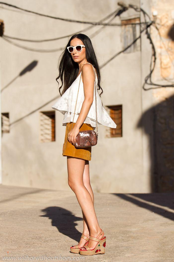 Falda de Ante y Sandalias de Rafia Magrit   With Or Without Shoes - Blog Moda Valencia Tendencias