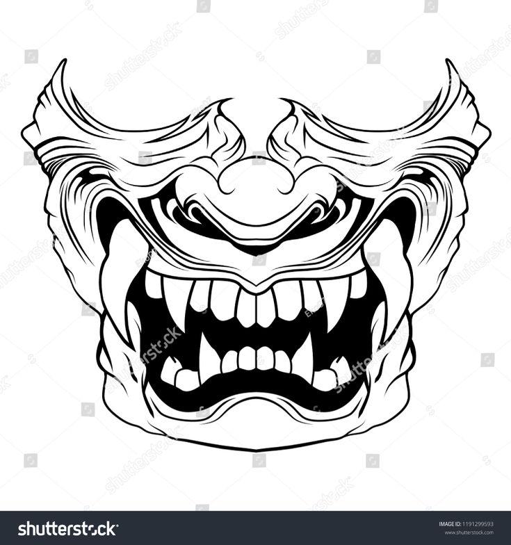 Samurai Mask Vector Illustration Stock Vector (Royalty