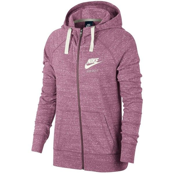 90a9e637d68d Nike Gym Vintage Full-Zip Hoodie ( 60) ❤ liked on Polyvore featuring tops