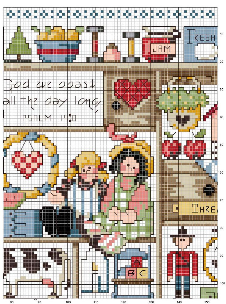 Schema punto croce Country-heart-3