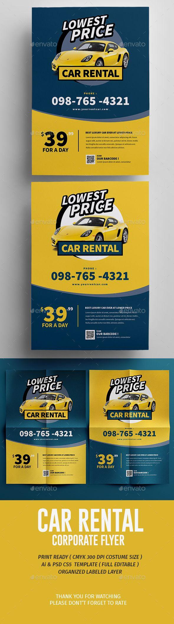 Car Rental Flyer - Corporate #Flyers Download here: https://graphicriver.net/item/car-rental-flyer/17429331?ref=classicdesignp
