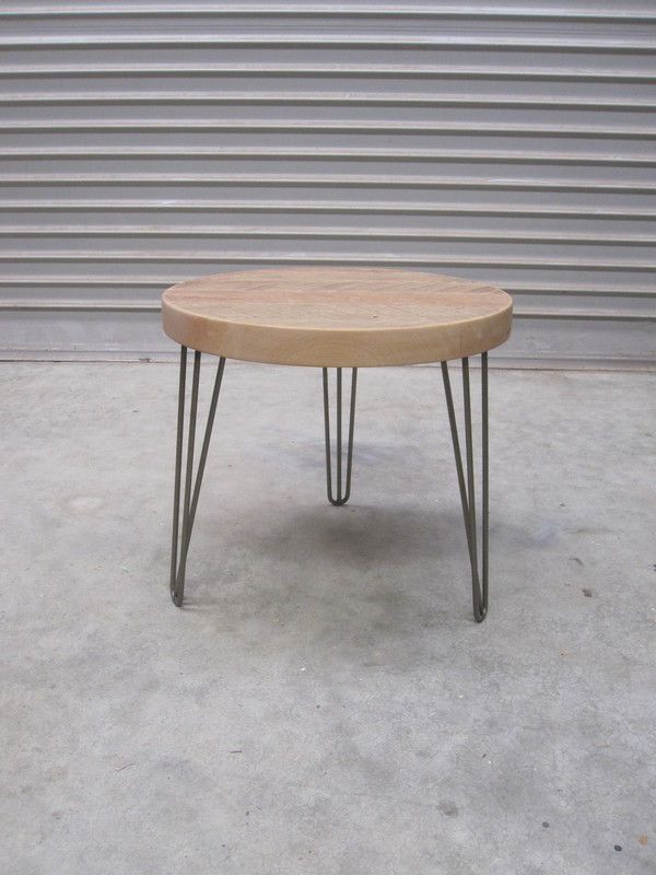 Weathered Macrocarpa sitting on steel Hairpin legs Finished with a matt polyurethane