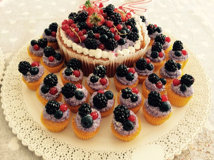 Mixed berry fruits cupcakes with vanilla. Coconut and white chocolate cream