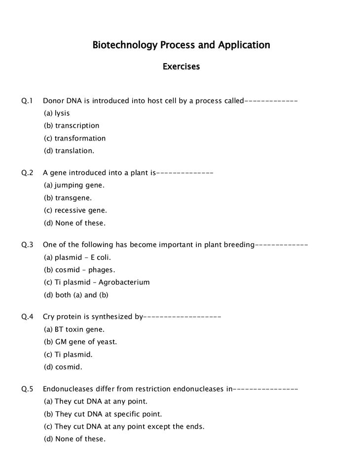 Biotechnology Process and Application Exercise - #MHCET 2015 Click here to read : http://www.ednexa.com/mh-cet-2015/biotechnology-process-application-exercise/