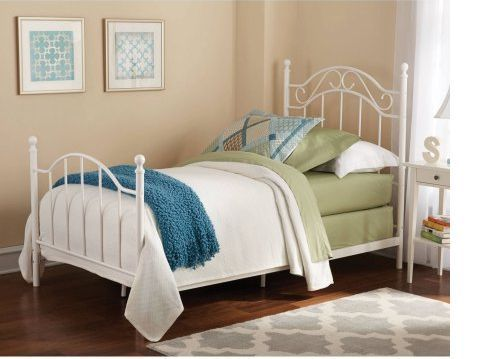 Twin Metal Bed Frame White Headboard Footboard Bedroom Children Teen NEW #Main