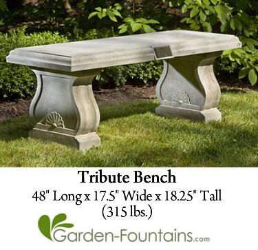 Tribute Bench, A Classic Cast Stone Bench For A Memorial Or Tribute Garden.