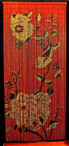 Bamboo Beaded Curtain Peony Flowers Decor Natural Door Way Doorway Room Divider 90 Strands NT/BB-08 - Tobona.com