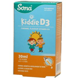 Sona Kidde D3 is a delicious tasting caramel flavoured vitamin D supplement, specially formulated for growing children. Vitamin D is needed for normal growth and development of bone in children. Vitamin D also contributes to the maintenance of normal bones and teeth, normal muscle function, neurotransmission, cell division, the normal function of the immune system and normal inflammation response.