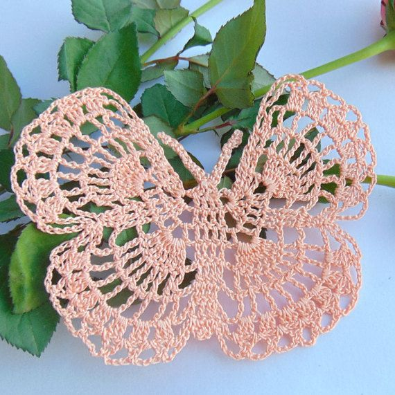 Salmon Crochet Butterfly Peach Cotton Papillon by MaddaKnits