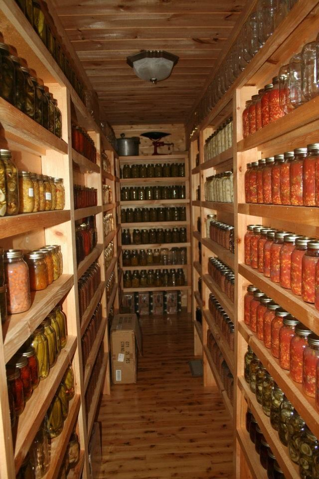 Really nice canning pantry...