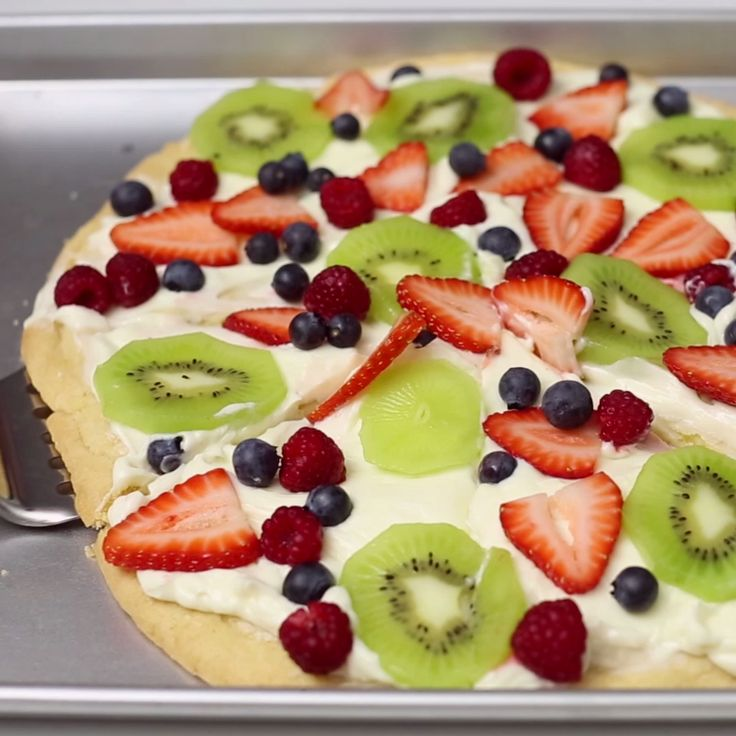 Grab a slice(or two) of this fruit-covered cookie pizza.