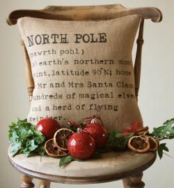 North Pole Burlap Pillow $52  Can make for A WHOLE LOT LESS!!!!: Pillows Covers, Idea, Burlap Christmas, Christmas Pillows, Burlap Pillows, Cushions Covers, North Pole, Christmas Decor, Pole Pillows