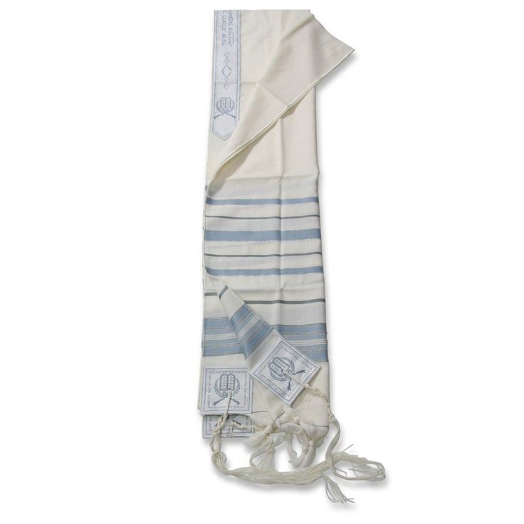 Traditional Pure Wool Tallit. Light Blue & Gray with Silver Strips | Judaica…