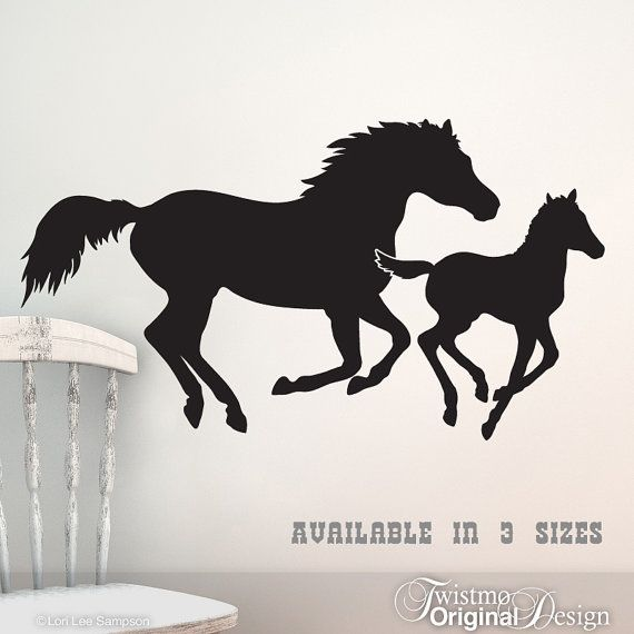 Galloping Horses Vinyl Wall Art - Mare and Foal / Mother and Baby, Western Home Decor, Horse Bedroom Decor on Etsy, $22.00