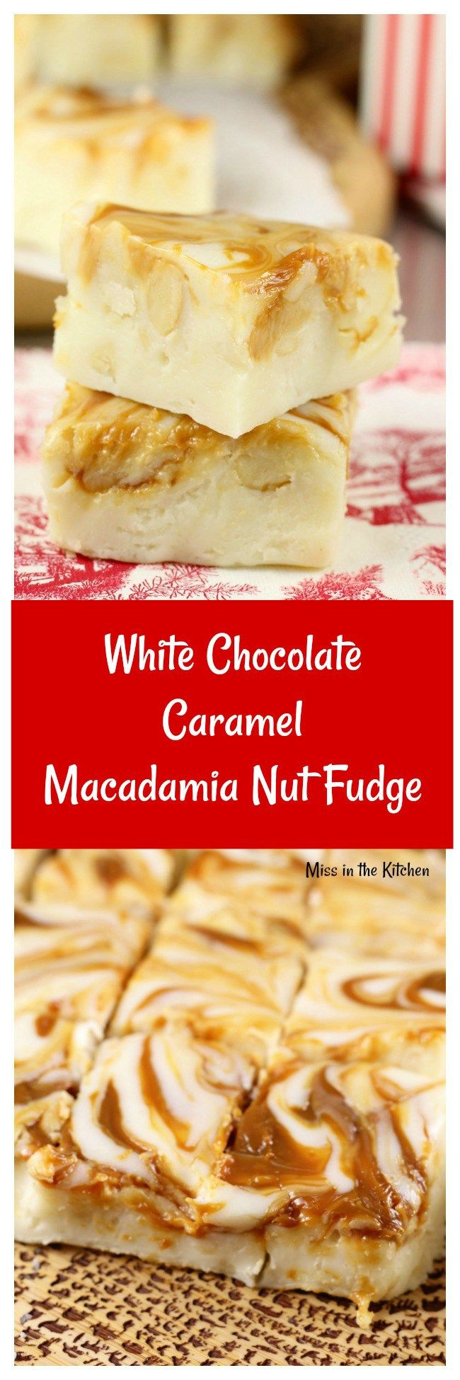White Chocolate Caramel Macadamia Nut Fudge is a decadent treat for the holidays! Just 5 minutes to make and six ingredients, this is one of the easiest treats you can make!