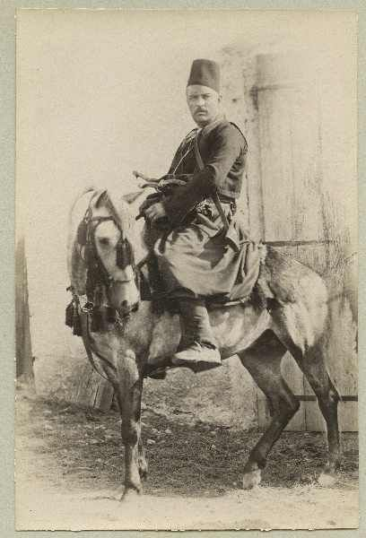 Man in traditional costume sitting on a horse, © The Austrian Museum of Folk Life and Folk Art. Banja Luka